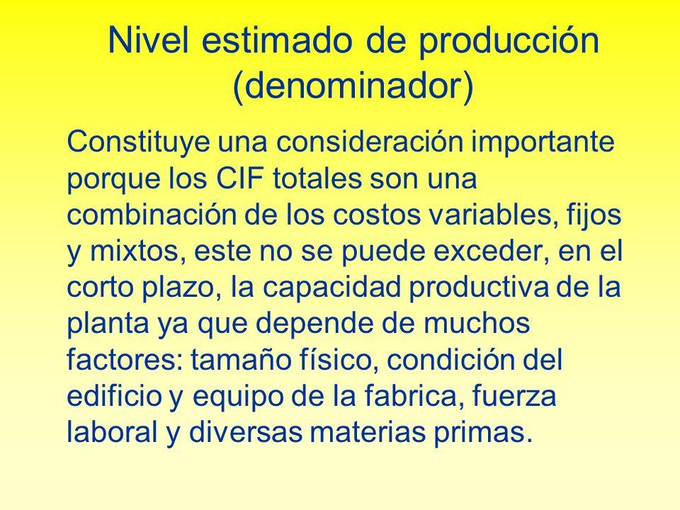Nivel estimado de producción (denominador) Constituye una consideración importante porque los CIF totales son una combinación de los costos variables,
