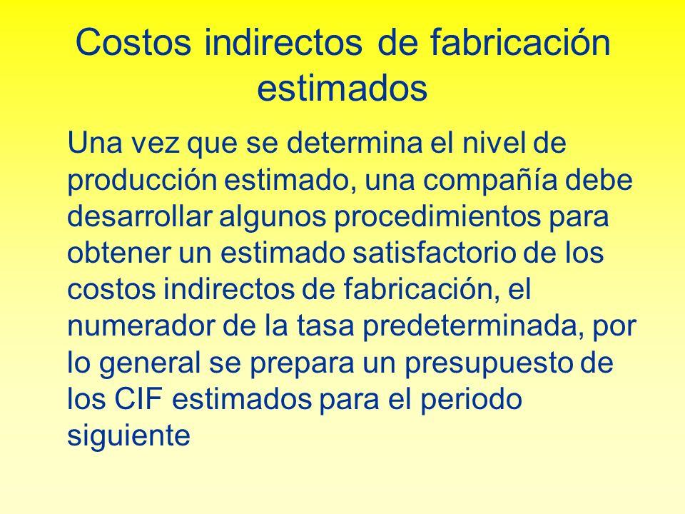 Costos indirectos de fabricación estimados Una vez que se determina el nivel de producción estimado, una compañía debe desarrollar algunos procedimien