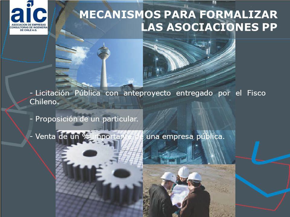 - Licitación Pública con anteproyecto entregado por el Fisco Chileno.