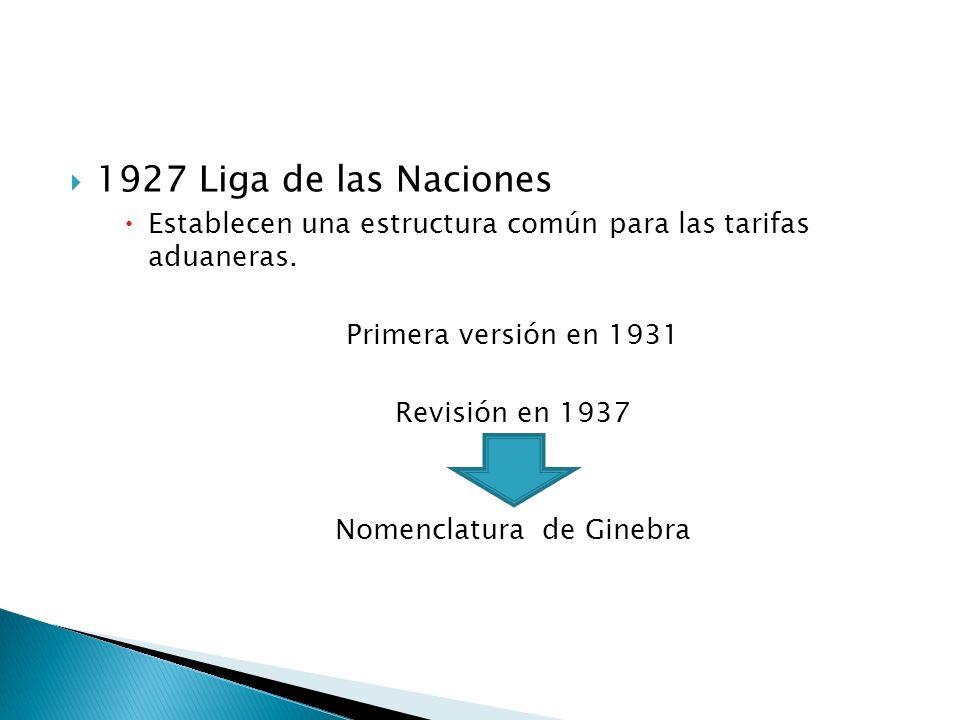 1927 Liga de las Naciones Establecen una estructura común para las tarifas aduaneras. Primera versión en 1931 Revisión en 1937 Nomenclatura de Ginebra
