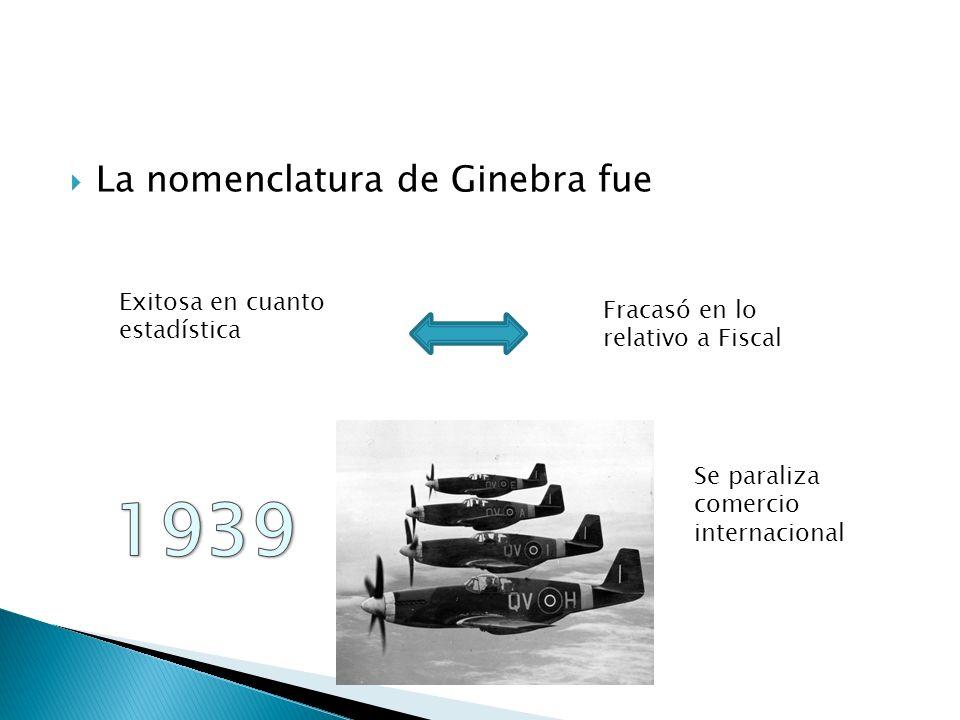 La nomenclatura de Ginebra fue Exitosa en cuanto estadística Fracasó en lo relativo a Fiscal Se paraliza comercio internacional