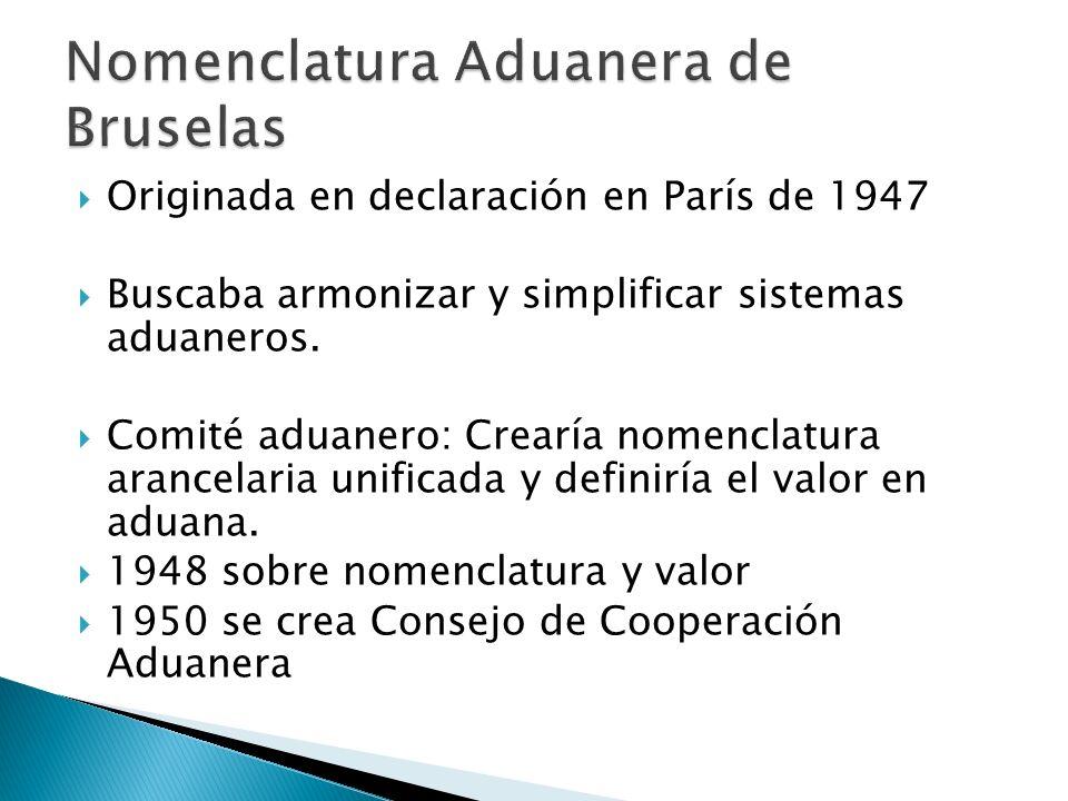 Originada en declaración en París de 1947 Buscaba armonizar y simplificar sistemas aduaneros. Comité aduanero: Crearía nomenclatura arancelaria unific