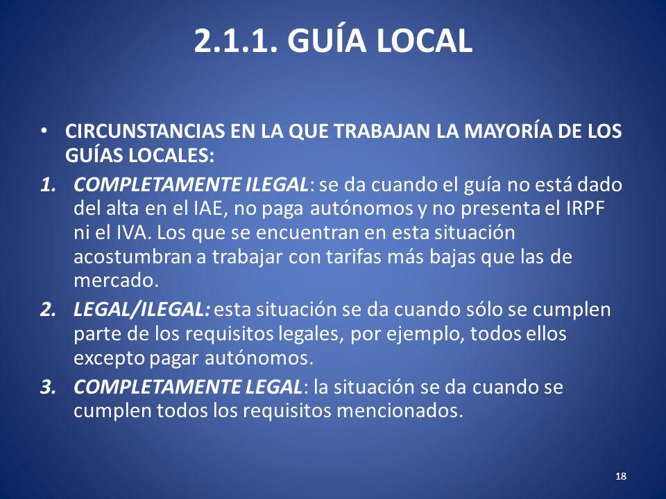 2.1.1. GUÍA LOCAL CIRCUNSTANCIAS EN LA QUE TRABAJAN LA MAYORÍA DE LOS GUÍAS LOCALES: 1.COMPLETAMENTE ILEGAL: se da cuando el guía no está dado del alt