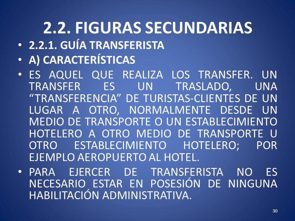 2.2. FIGURAS SECUNDARIAS 2.2.1. GUÍA TRANSFERISTA A) CARACTERÍSTICAS ES AQUEL QUE REALIZA LOS TRANSFER. UN TRANSFER ES UN TRASLADO, UNA TRANSFERENCIA