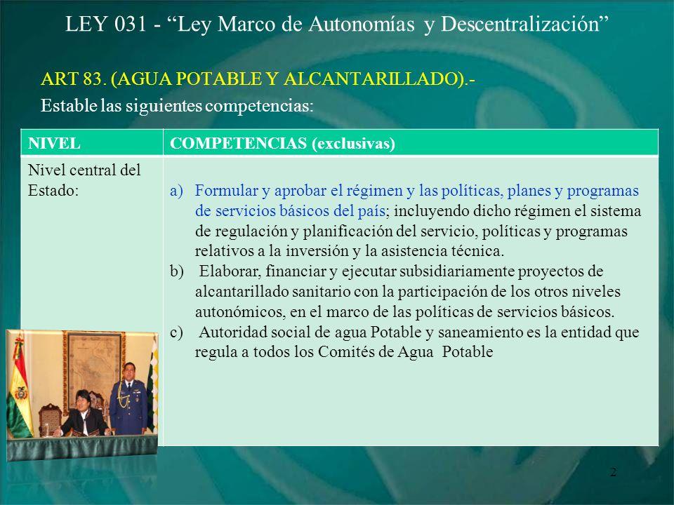 LEY 031 - Ley Marco de Autonomías y Descentralización ART 83. (AGUA POTABLE Y ALCANTARILLADO).- Estable las siguientes competencias: 2 NIVELCOMPETENCI