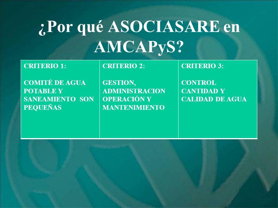 ¿Por qué ASOCIASARE en AMCAPyS? CRITERIO 1: COMITÉ DE AGUA POTABLE Y SANEAMIENTO SON PEQUEÑAS CRITERIO 2: GESTION, ADMINISTRACION OPERACIÓN Y MANTENIM