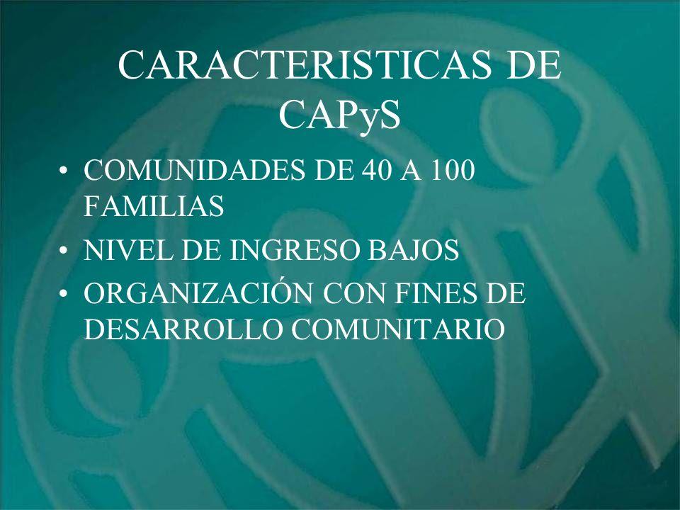 CARACTERISTICAS DE CAPyS COMUNIDADES DE 40 A 100 FAMILIAS NIVEL DE INGRESO BAJOS ORGANIZACIÓN CON FINES DE DESARROLLO COMUNITARIO