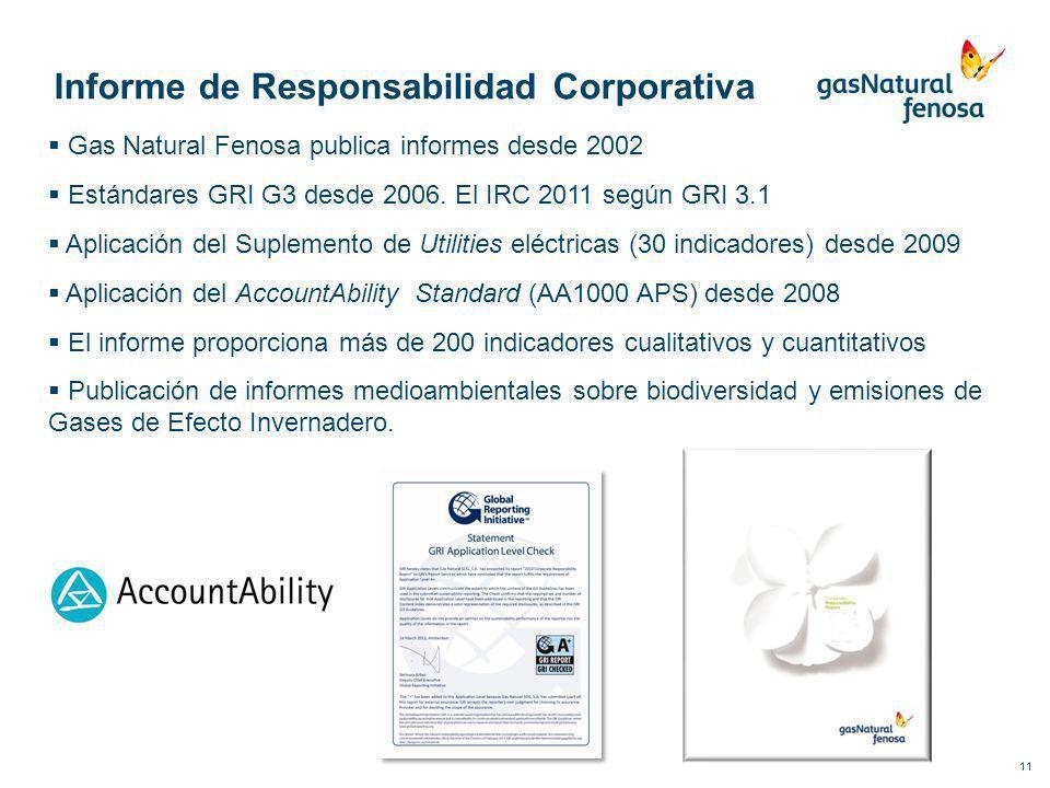 11 Informe de Responsabilidad Corporativa Gas Natural Fenosa publica informes desde 2002 Estándares GRI G3 desde 2006. El IRC 2011 según GRI 3.1 Aplic