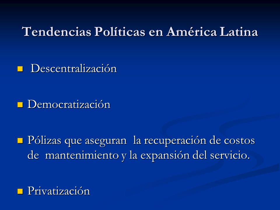 Tendencias Políticas en América Latina Descentralización Descentralización Democratización Democratización Pólizas que aseguran la recuperación de cos