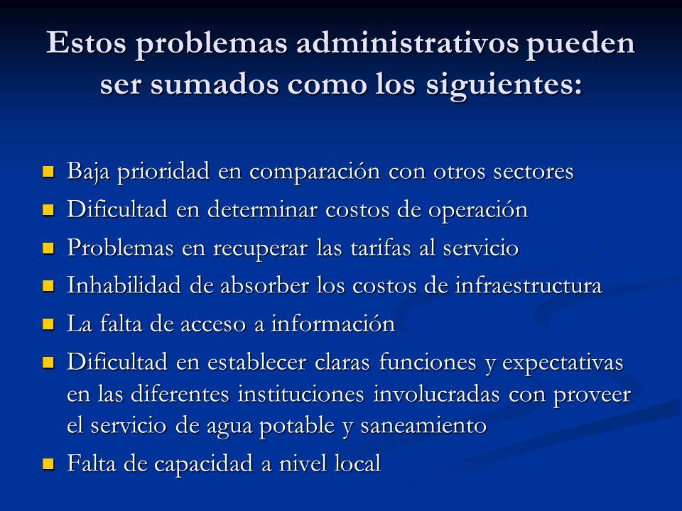 Estos problemas administrativos pueden ser sumados como los siguientes: Baja prioridad en comparación con otros sectores Baja prioridad en comparación