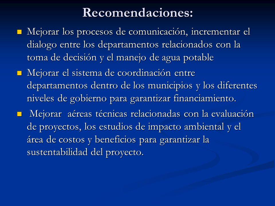Recomendaciones: Mejorar los procesos de comunicación, incrementar el dialogo entre los departamentos relacionados con la toma de decisión y el manejo