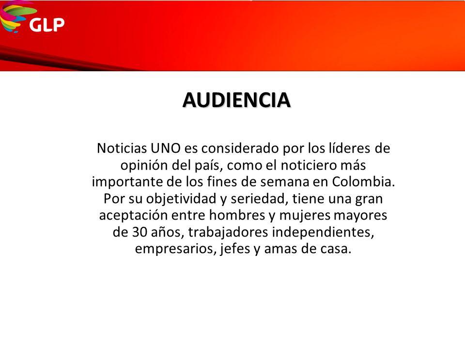 AUDIENCIA Noticias UNO es considerado por los líderes de opinión del país, como el noticiero más importante de los fines de semana en Colombia. Por su
