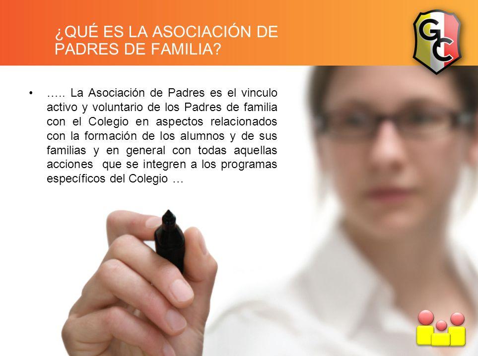 ¿QUÉ ES LA ASOCIACIÓN DE PADRES DE FAMILIA? ….. La Asociación de Padres es el vinculo activo y voluntario de los Padres de familia con el Colegio en a