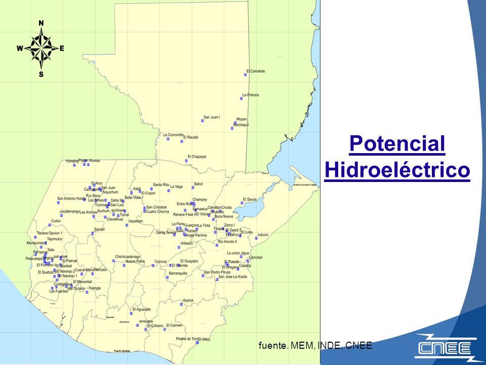 Potencial Hidroeléctrico fuente. MEM, INDE, CNEE