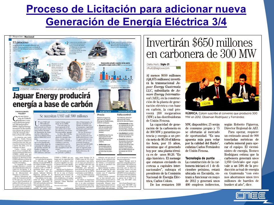 Proceso de Licitación para adicionar nueva Generación de Energía Eléctrica 3/4