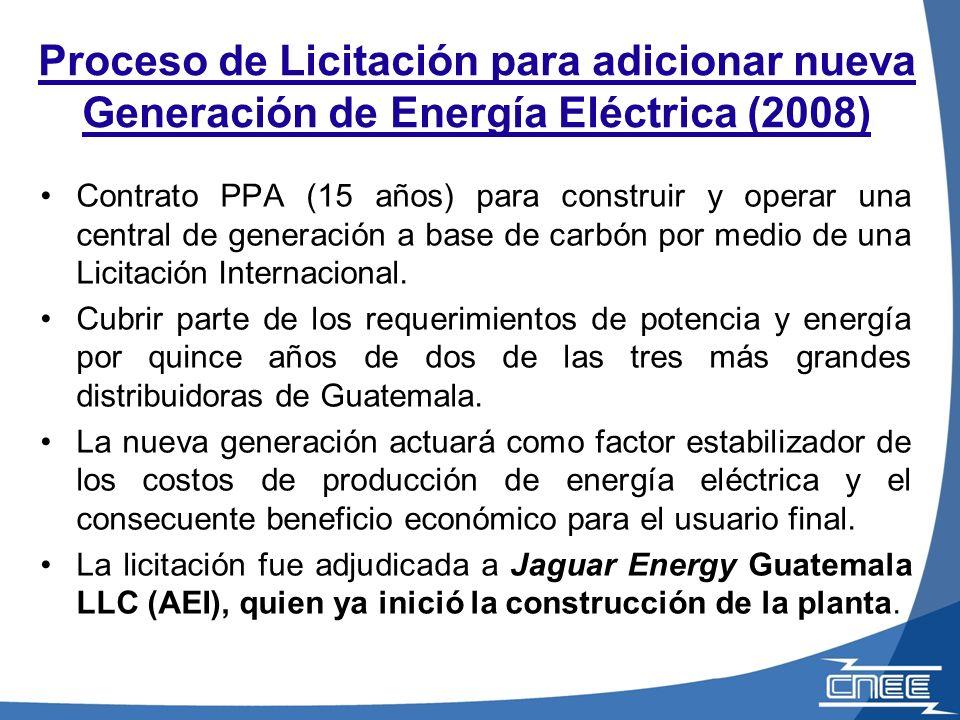Proceso de Licitación para adicionar nueva Generación de Energía Eléctrica (2008) Contrato PPA (15 años) para construir y operar una central de generación a base de carbón por medio de una Licitación Internacional.