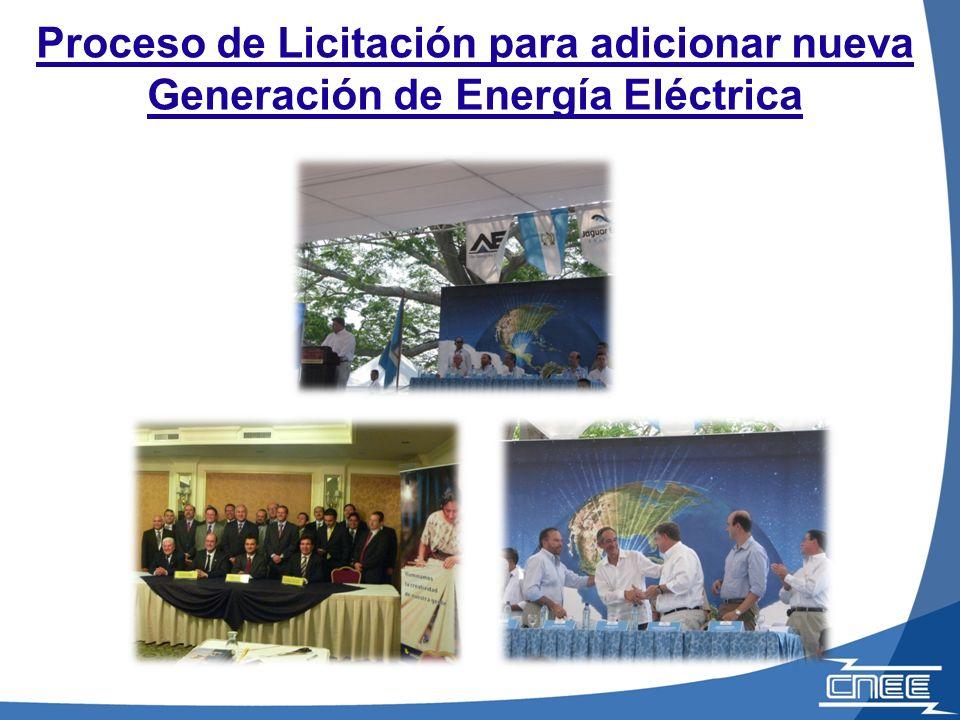 Proceso de Licitación para adicionar nueva Generación de Energía Eléctrica