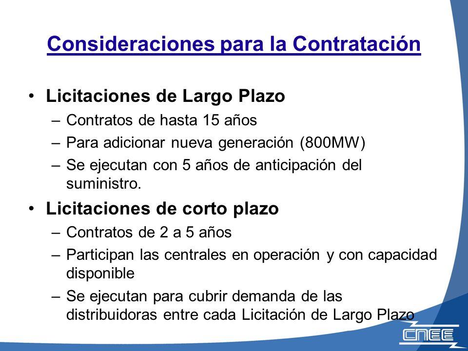 Consideraciones para la Contratación Licitaciones de Largo Plazo –Contratos de hasta 15 años –Para adicionar nueva generación (800MW) –Se ejecutan con