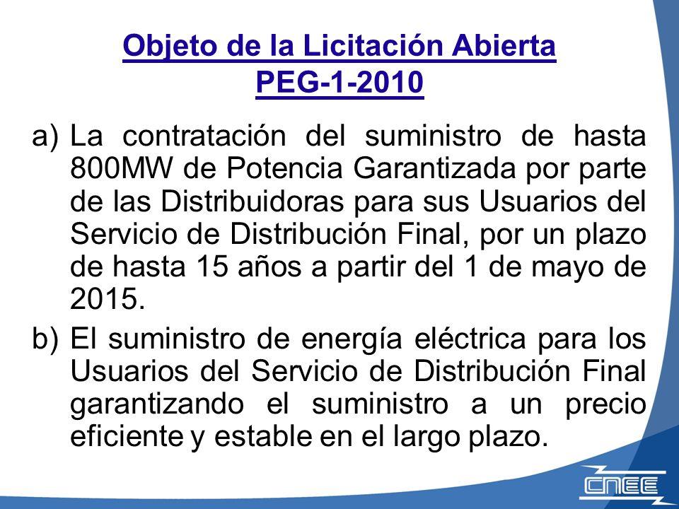 Objeto de la Licitación Abierta PEG-1-2010 a)La contratación del suministro de hasta 800MW de Potencia Garantizada por parte de las Distribuidoras par
