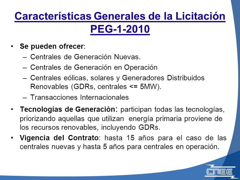 Se pueden ofrecer: –Centrales de Generación Nuevas.