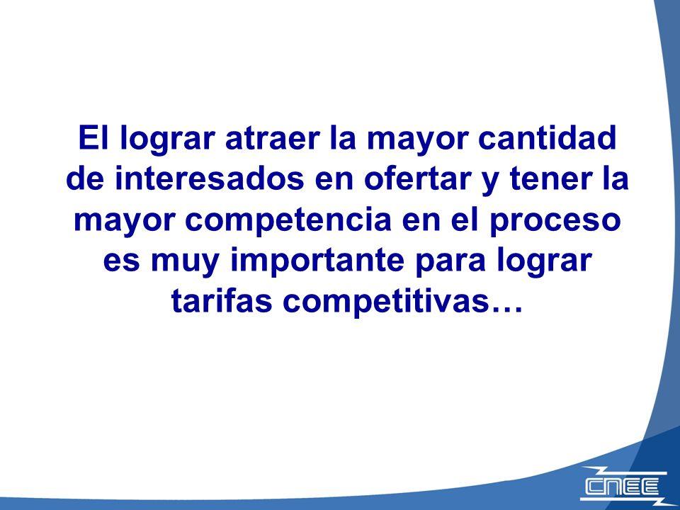 El lograr atraer la mayor cantidad de interesados en ofertar y tener la mayor competencia en el proceso es muy importante para lograr tarifas competitivas…