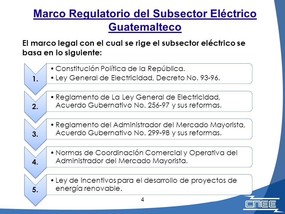 4 1. Constitución Política de la República. Ley General de Electricidad, Decreto No. 93-96. 2. Reglamento de La Ley General de Electricidad, Acuerdo G