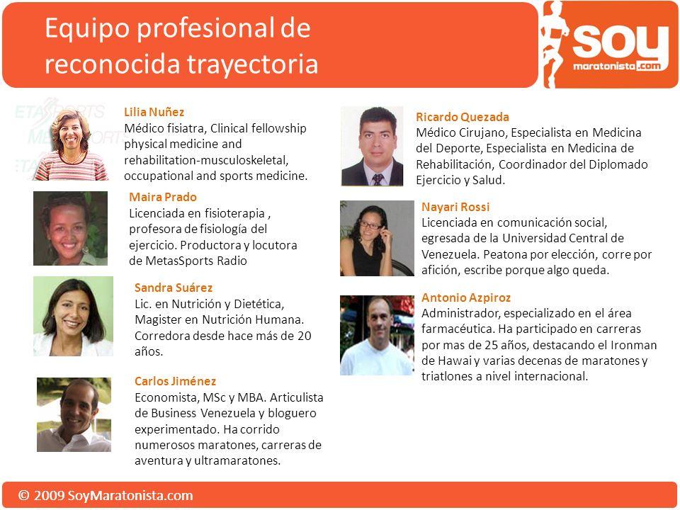 © 2009 SoyMaratonista.com Equipo profesional de reconocida trayectoria Sandra Suárez Lic. en Nutrición y Dietética, Magister en Nutrición Humana. Corr
