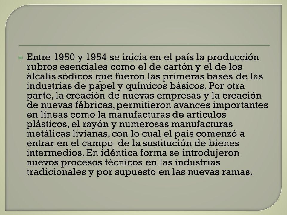 Entre 1950 y 1954 se inicia en el país la producción rubros esenciales como el de cartón y el de los álcalis sódicos que fueron las primeras bases de