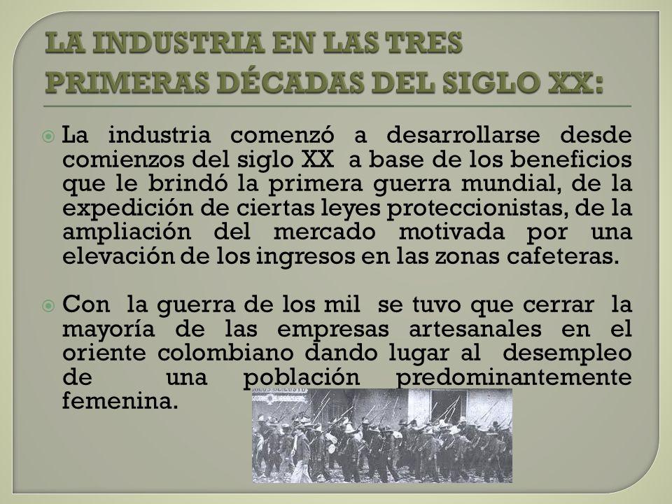 La industria comenzó a desarrollarse desde comienzos del siglo XX a base de los beneficios que le brindó la primera guerra mundial, de la expedición d