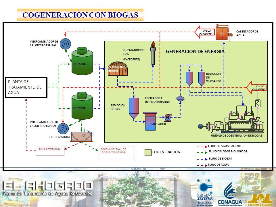 COGENERACION DL- 510B DIGESTER SLUDGE UNIDAD DE COGENERACION DE BIOGAS ALMACEN DE BIOGAS QUEMADOR DE GAS (EXCEDENTE) REMOCION DE H2S SOPLADOR ENFRIADO