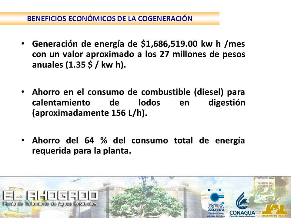 Generación de energía de $1,686,519.00 kw h /mes con un valor aproximado a los 27 millones de pesos anuales (1.35 $ / kw h). Ahorro en el consumo de c