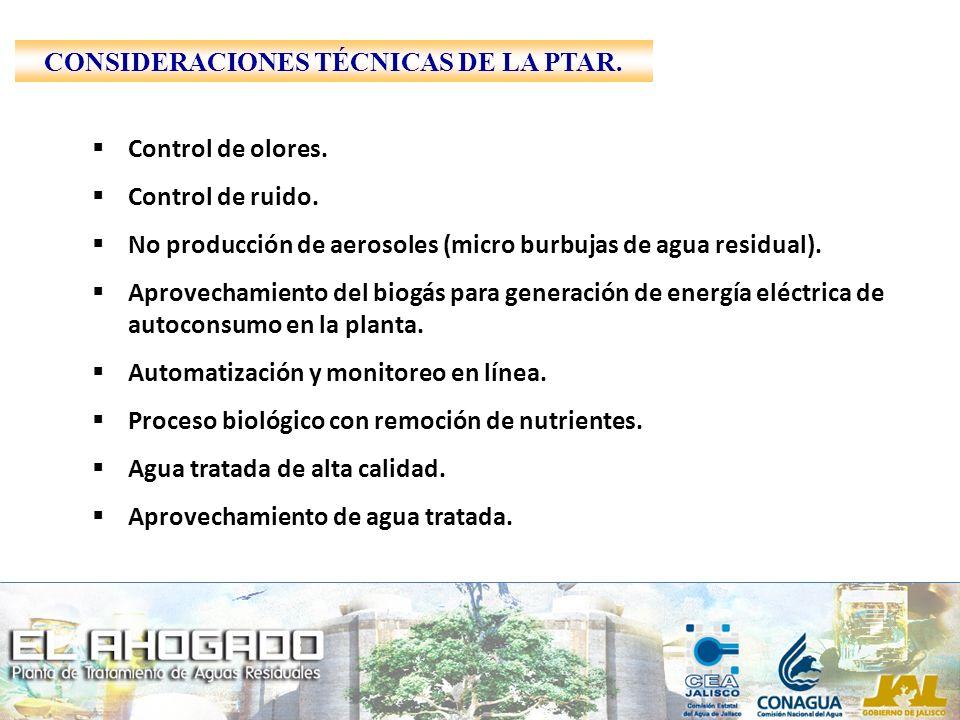 Control de olores. Control de ruido. No producción de aerosoles (micro burbujas de agua residual). Aprovechamiento del biogás para generación de energ