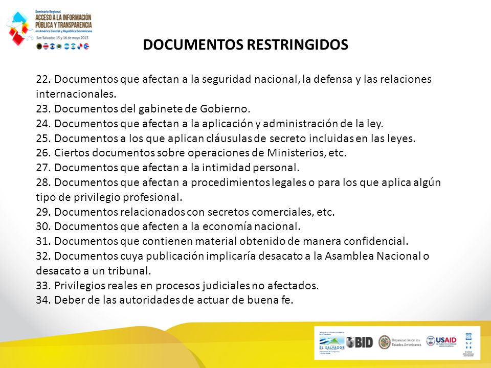 DOCUMENTOS RESTRINGIDOS 22.
