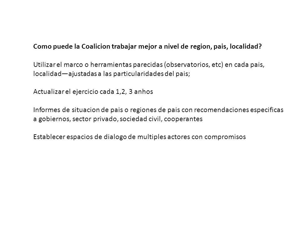 Como puede la Coalicion trabajar mejor a nivel de region, pais, localidad.