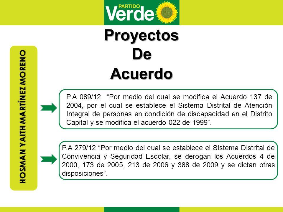 Proyectos De Acuerdo HOSMAN YAITHMARTÍNEZ MORENO HOSMAN YAITH MARTÍNEZ MORENO P.A 089/12 Por medio del cual se modifica el Acuerdo 137 de 2004, por el cual se establece el Sistema Distrital de Atención Integral de personas en condición de discapacidad en el Distrito Capital y se modifica el acuerdo 022 de 1999.
