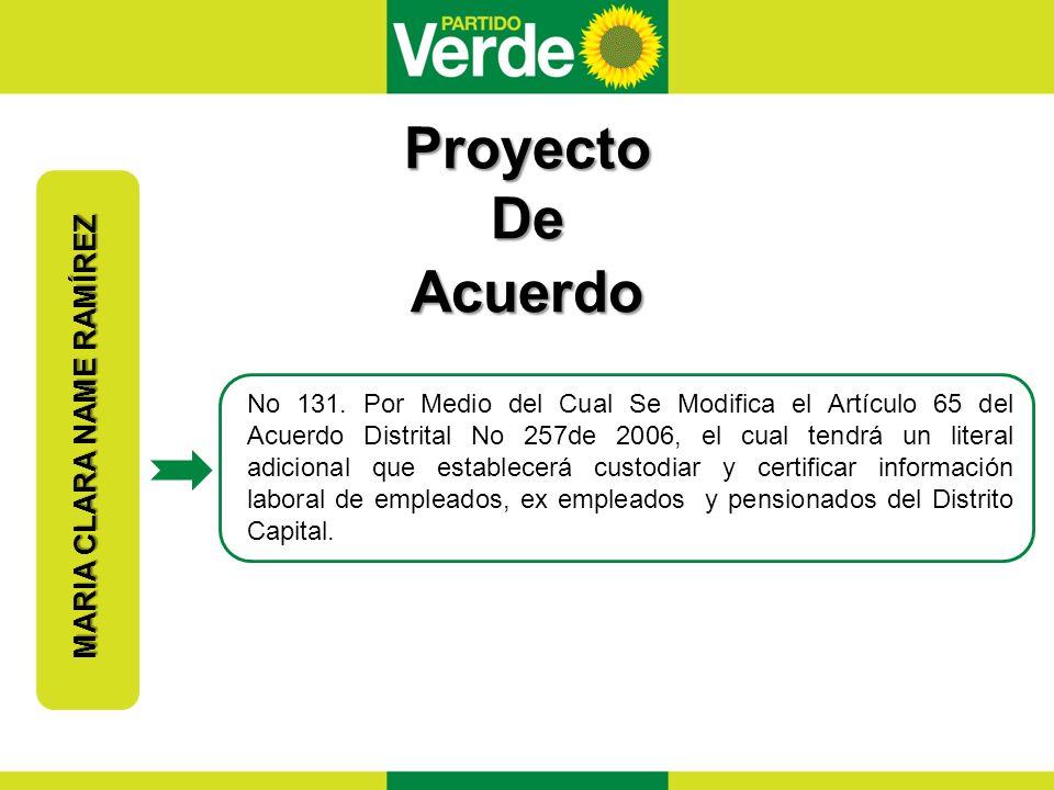 Proyecto De Acuerdo MARIA CLARA NAME RAMÍREZ No 131.