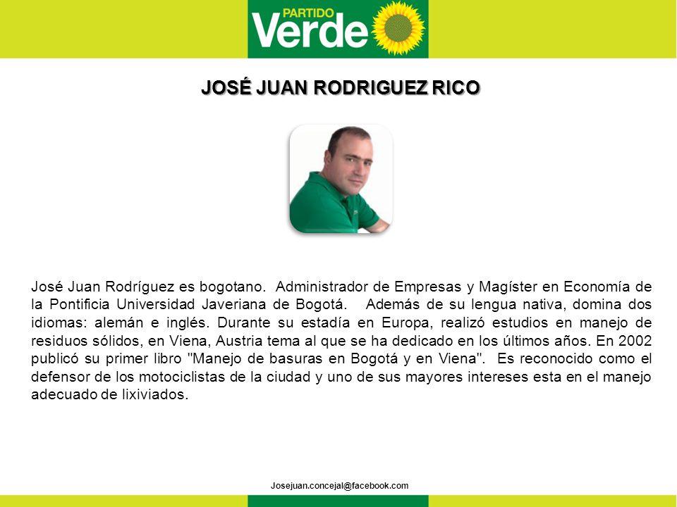 JOSÉ JUAN RODRIGUEZ RICO JOSÉ JUAN RODRIGUEZ RICO José Juan Rodríguez es bogotano.