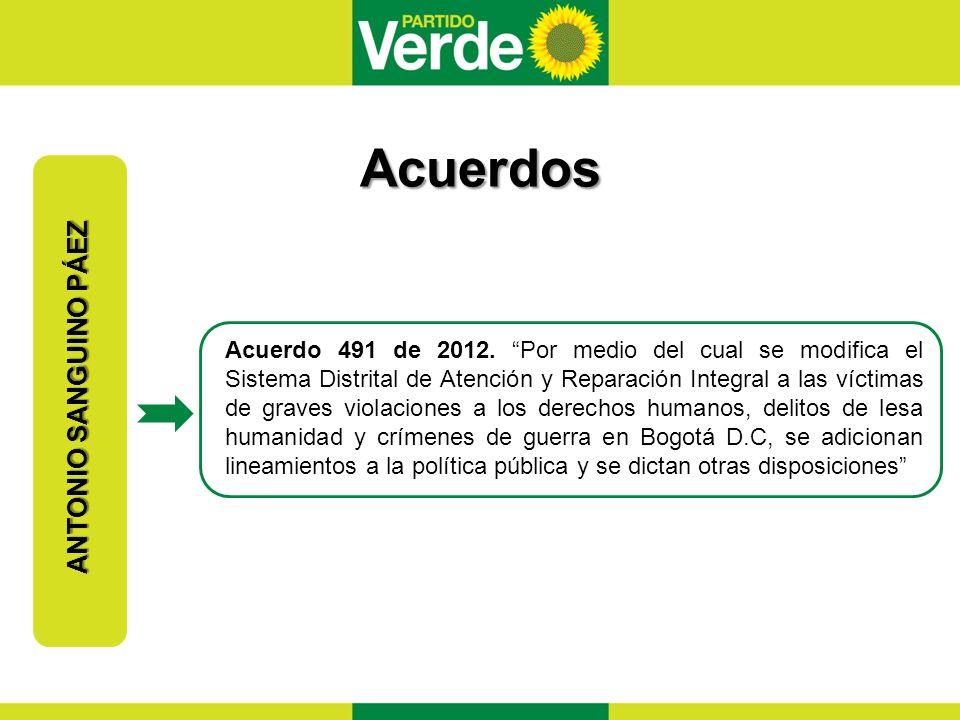 Acuerdos ANTONIO SANGUINO PÁEZ Acuerdo 491 de 2012.