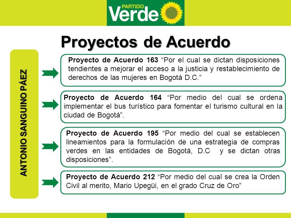 Proyectos de Acuerdo Proyectos de Acuerdo ANTONIO SANGUINO PÁEZ Proyecto de Acuerdo 163 Por el cual se dictan disposiciones tendientes a mejorar el acceso a la justicia y restablecimiento de derechos de las mujeres en Bogotá D.C.