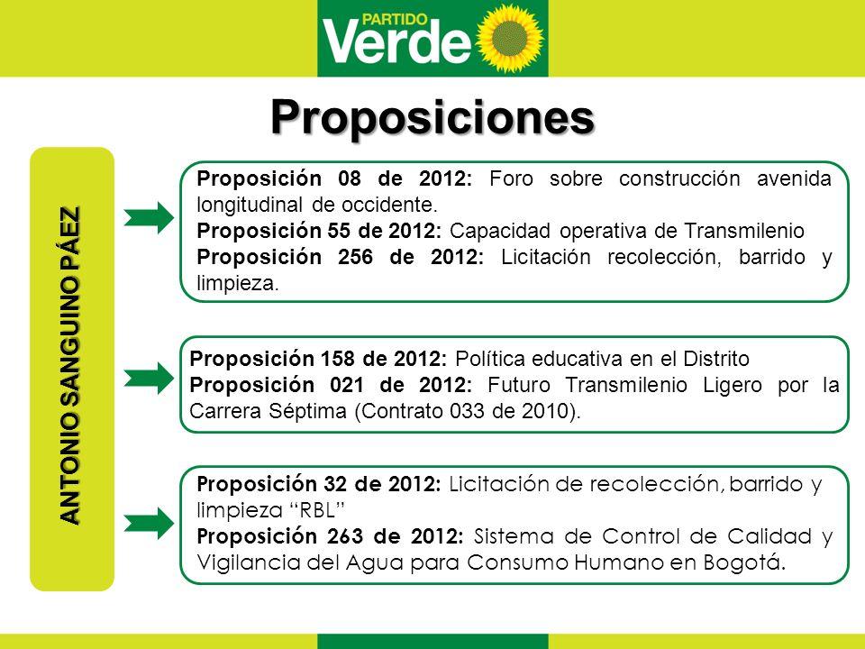 Proposiciones ANTONIO SANGUINO PÁEZ Proposición 08 de 2012: Foro sobre construcción avenida longitudinal de occidente.