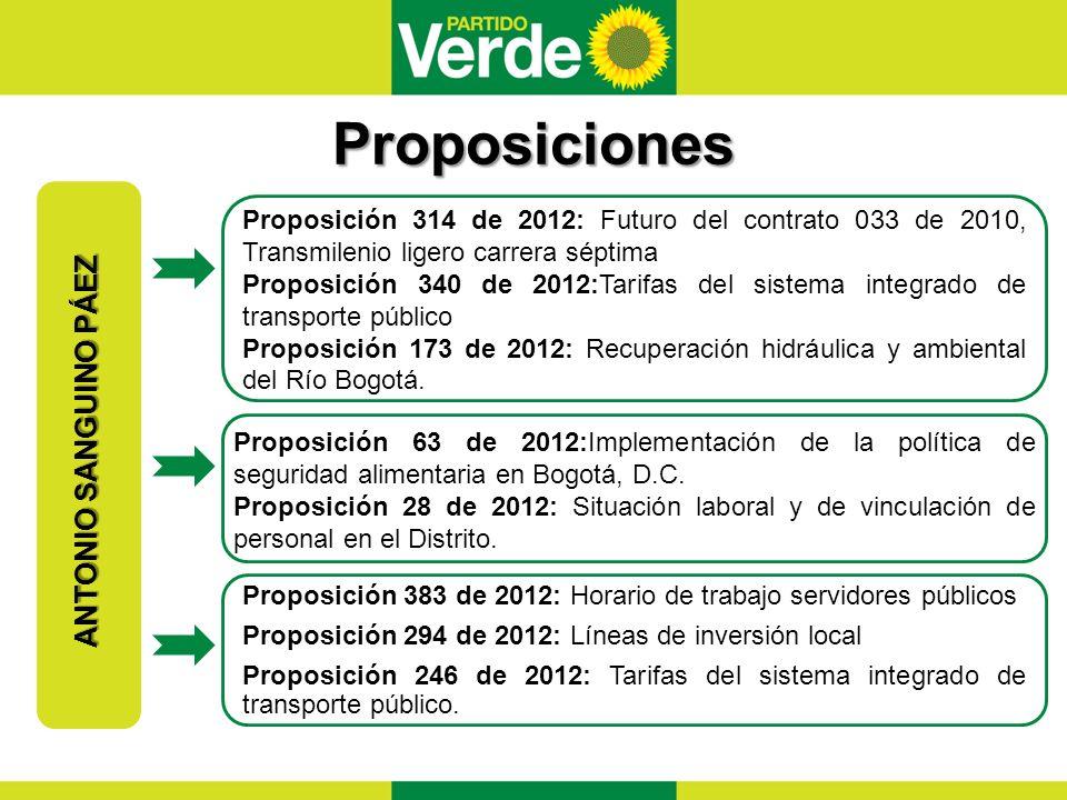Proposiciones ANTONIO SANGUINO PÁEZ Proposición 314 de 2012: Futuro del contrato 033 de 2010, Transmilenio ligero carrera séptima Proposición 340 de 2012:Tarifas del sistema integrado de transporte público Proposición 173 de 2012: Recuperación hidráulica y ambiental del Río Bogotá.