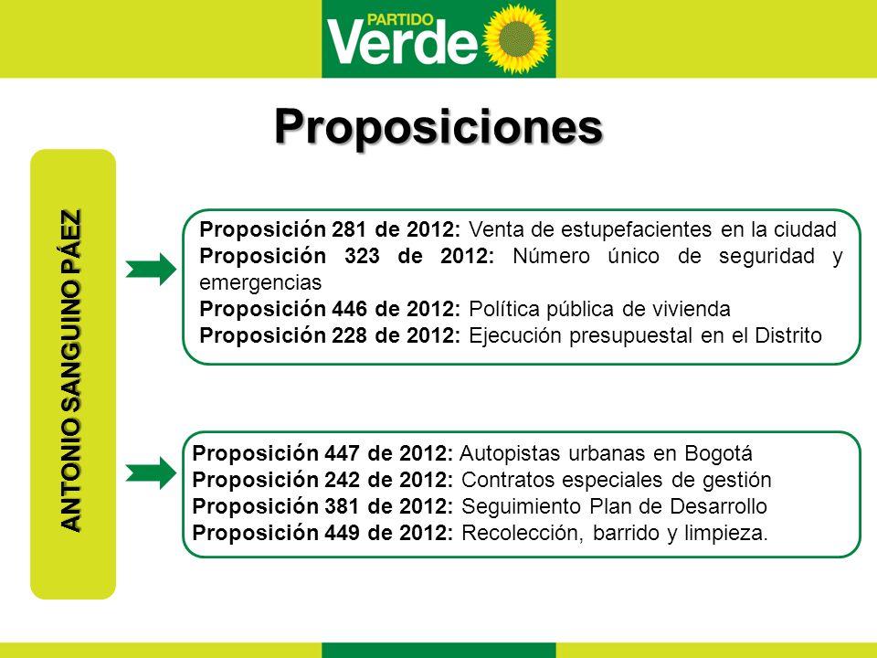 Proposiciones ANTONIO SANGUINO PÁEZ Proposición 281 de 2012: Venta de estupefacientes en la ciudad Proposición 323 de 2012: Número único de seguridad y emergencias Proposición 446 de 2012: Política pública de vivienda Proposición 228 de 2012: Ejecución presupuestal en el Distrito Proposición 447 de 2012: Autopistas urbanas en Bogotá Proposición 242 de 2012: Contratos especiales de gestión Proposición 381 de 2012: Seguimiento Plan de Desarrollo Proposición 449 de 2012: Recolección, barrido y limpieza.