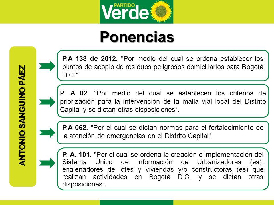 Ponencias ANTONIO SANGUINO PÁEZ P.A 133 de 2012.