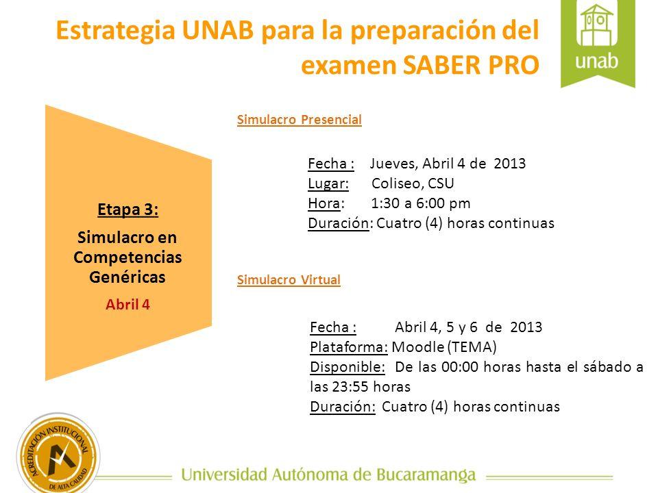 Etapa 3: Simulacro en Competencias Genéricas Abril 4 Estrategia UNAB para la preparación del examen SABER PRO Fecha : Jueves, Abril 4 de 2013 Lugar: C