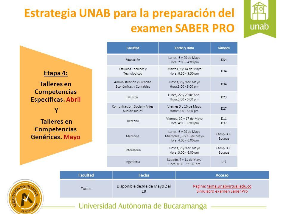 Etapa 4: Talleres en Competencias Específicas. Abril Y Talleres en Competencias Genéricas. Mayo Estrategia UNAB para la preparación del examen SABER P