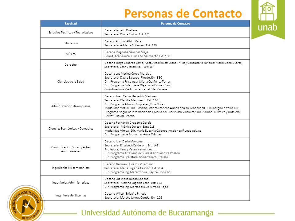 Personas de Contacto FacultadPersona de Contacto Estudios Técnicos y Tecnológicos Decana Yaneth Orellana Secretaria: Diana Pinilla. Ext: 181 Educación
