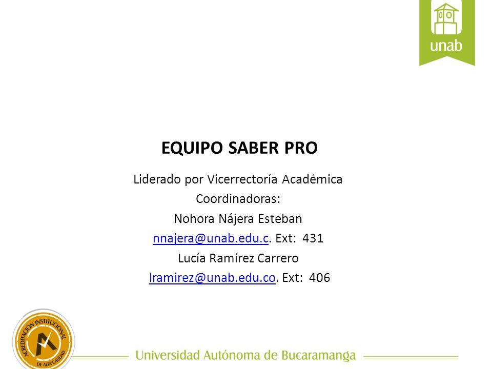 EQUIPO SABER PRO Liderado por Vicerrectoría Académica Coordinadoras: Nohora Nájera Esteban nnajera@unab.edu.cnnajera@unab.edu.c. Ext: 431 Lucía Ramíre