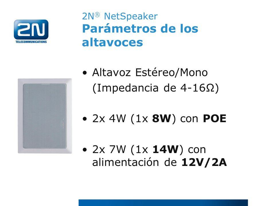 2N ® NetSpeaker Parámetros de los altavoces Altavoz Estéreo/Mono (Impedancia de 4-16Ω) 2x 4W (1x 8W) con POE 2x 7W (1x 14W) con alimentación de 12V/2A