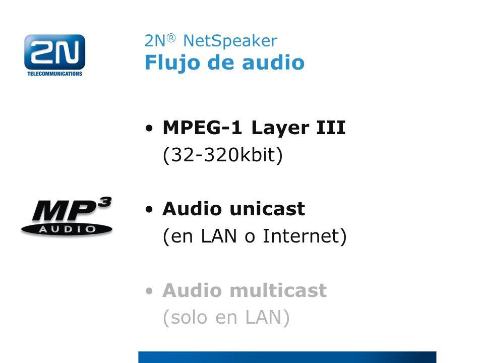 2N ® NetSpeaker Flujo de audio MPEG-1 Layer III (32-320kbit) Audio unicast (en LAN o Internet) Audio multicast (solo en LAN)