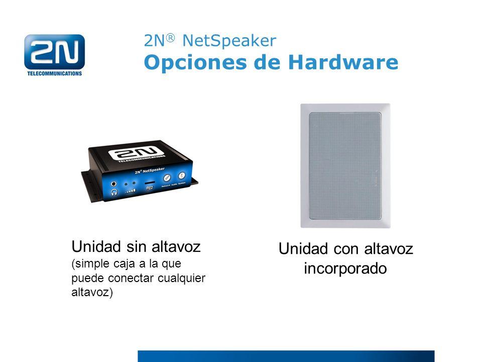 2N ® NetSpeaker Opciones de Hardware Unidad sin altavoz (simple caja a la que puede conectar cualquier altavoz) Unidad con altavoz incorporado